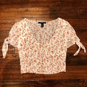 Forever 21 Floral Peasant Crop Top